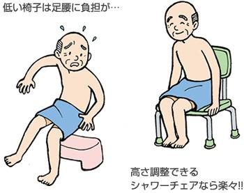 シャワーチェアは、高さ調整できると便利!!